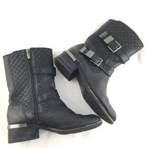 Vince Camuto Shoes - Motorcycle boots black leather quilted Welton mid